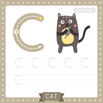 Letter c uppercase tracing practice worksheet. standing cat holding fish