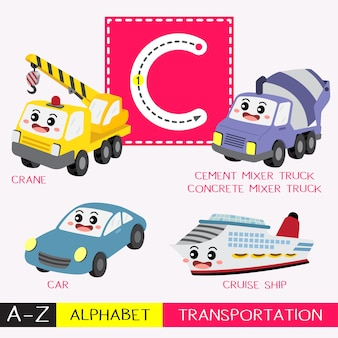Letter c uppercase tracing transportations vocabulary