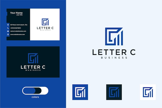 Letter c with building logo design and business card