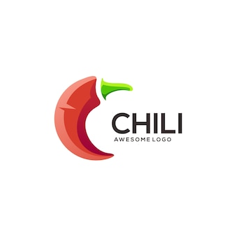 Letter c with chili shape logo illustration