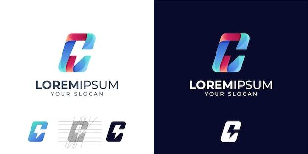 Letter c with energy logo design inspiration. c thunder logo. c logo Premium Vector