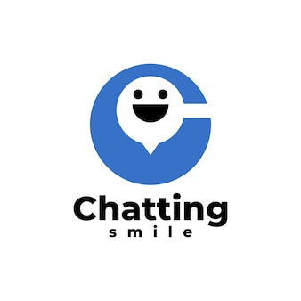 Letter c with a smiling face inside chatting app logo template