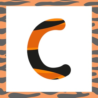 Letter c with tiger pattern festive font and frame from orange with black stripes alphabet symbol fo...
