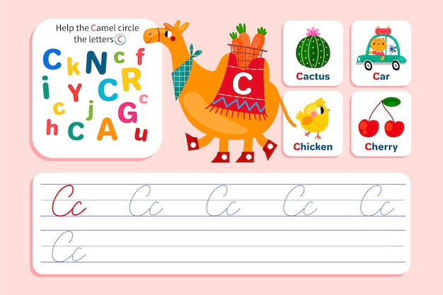 Letter c worksheet with camel