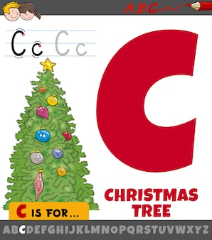 Letter c worksheet with cartoon christmas tree