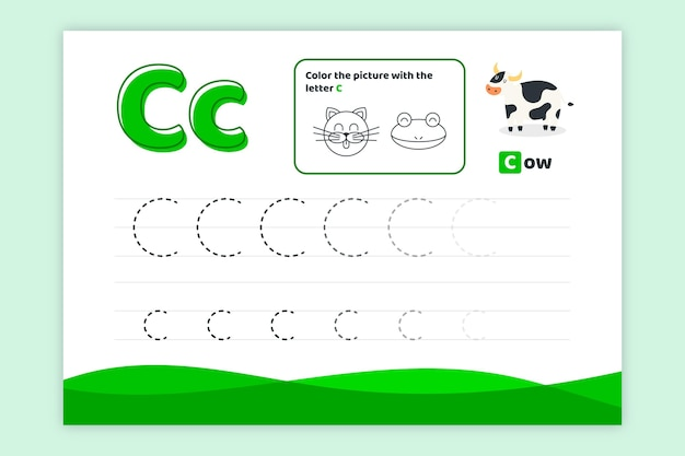 Letter c worksheet with cow