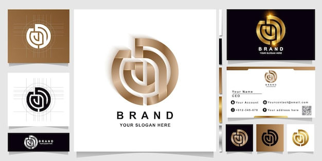 Letter cad or cd monogram logo template with business card design