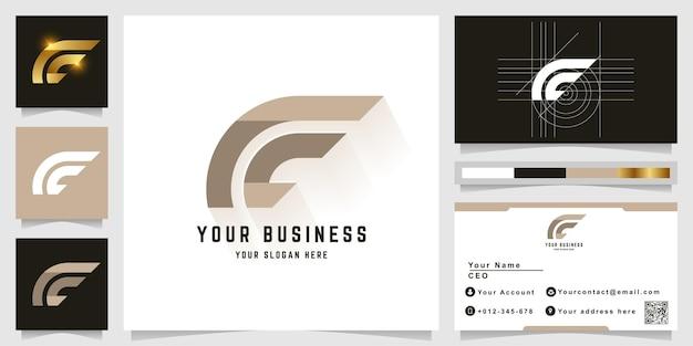 Буква ce или cc вензель логотип с дизайном визитной карточки