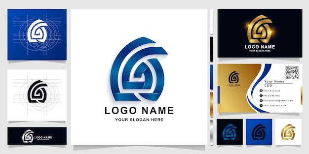 Буква cga или шаблон логотипа вензеля с дизайном визитной карточки