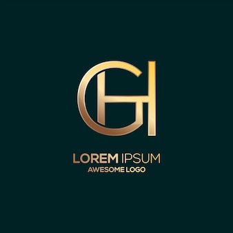 Letter ch logo luxury gold color template