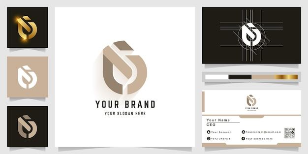 Letter ci or a monogram logo with business card design