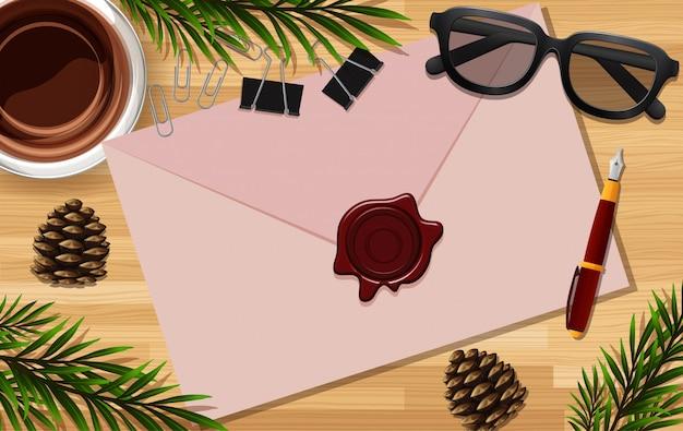 Письмо крупным планом на фоне стола с очками и некоторыми листьями реквизита