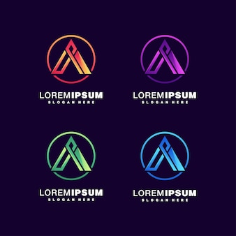 Letter a colorful logo set