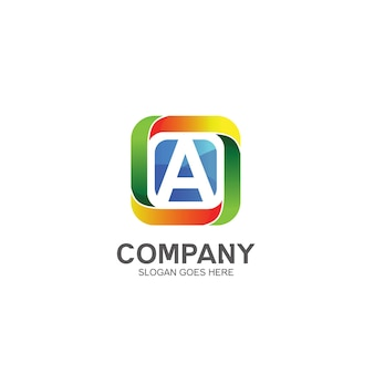 Letter a and colorful square logo