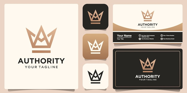 Letter a combined with crown logo and business card design