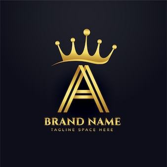 Letter a crown golden logo concept design