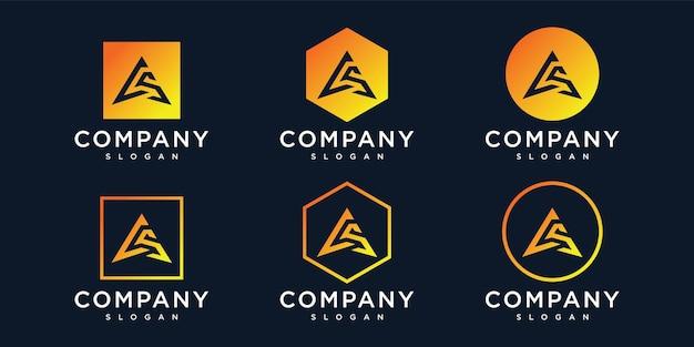 Буква cs треугольник логотип дизайн коллекции шаблонов