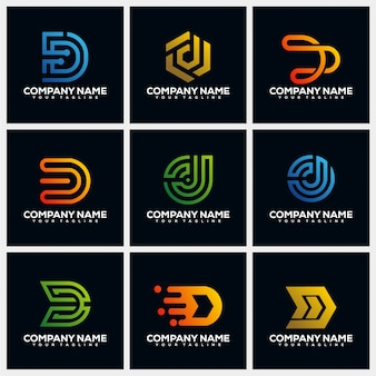 Letter d creative logo design template collections