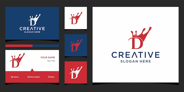 Letter d crown logo design