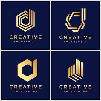 Набор простых и сплошных буквенных знаков для letter d. профессиональный знак качества для вашего бизнеса. типографский буква d логотип