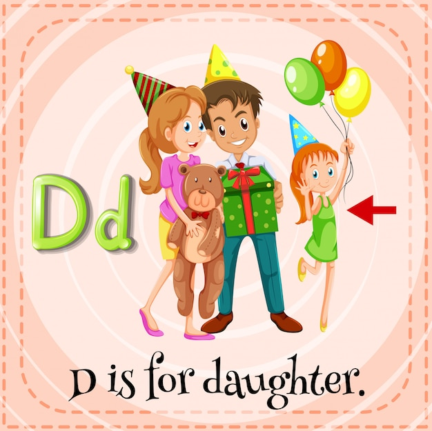 A letter d for daughter
