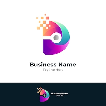 Letter d digital technology logo