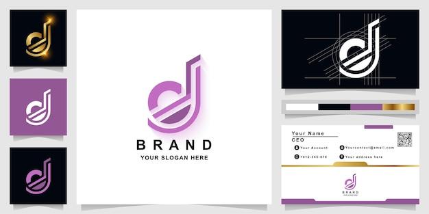 Letter d or dj monogram logo template with business card design