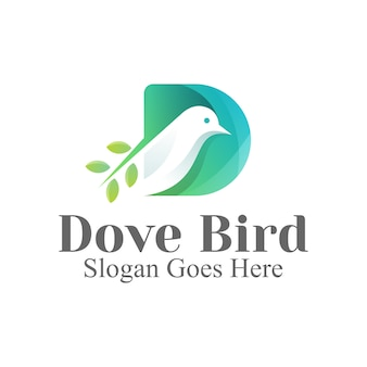 美容、化粧品、サロン、アイデンティティのための文字d鳩鳥のロゴのデザイン