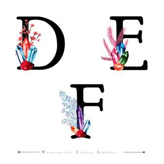 Письмо de и f с акварельным кристаллом