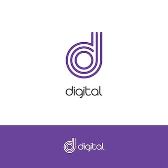 흰색 바탕에 기술적으로 개발 중인 시작 로고 개념을 위한 letter d 우아한 로고 및 모노그램