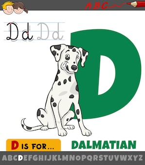 Letter d from alphabet with cartoon dalmatian dog