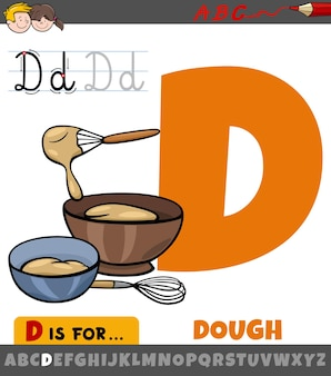 Letter d from alphabet with cartoon dough