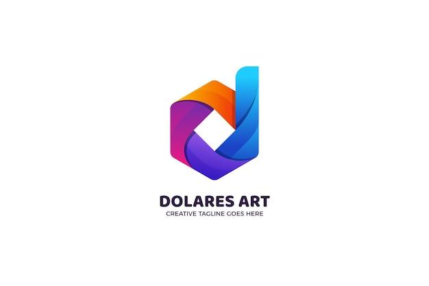 文字dの幾何学的なグラデーションのロゴのテンプレート