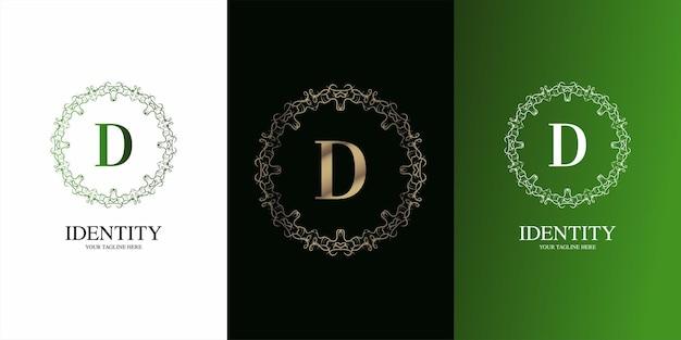 고급 장식 꽃 프레임 로고 템플릿이 있는 문자 d 초기 알파벳입니다.