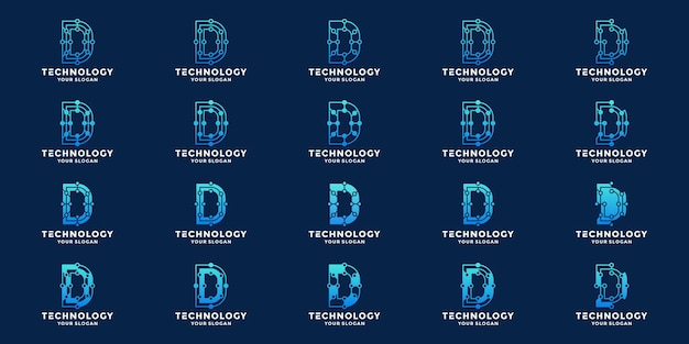 Letter d, initials d technology logo design vector with dot concept and connection