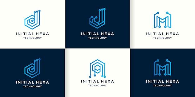 Letter d j m a technology logo with hexagon circuit concept