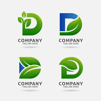 Буква d дизайн логотипа листа