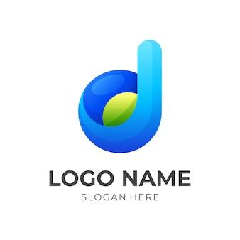 文字 d の葉のロゴ、文字 d と葉、3 d の緑と青のカラー スタイルの組み合わせロゴ