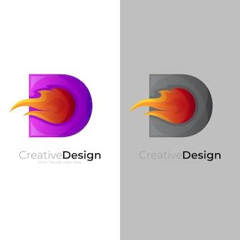 文字dロゴと火のデザインテンプレート、dロゴと火