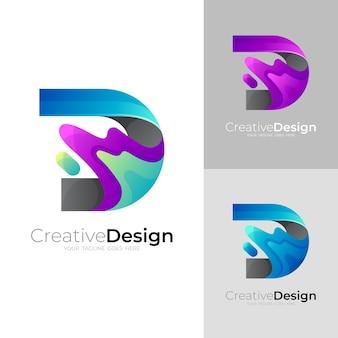 文字dのロゴと水のスウッシュデザインテンプレート