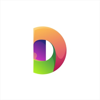 Letter d logo colorful gradient abstract