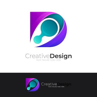 Буква d дизайн логотипа красочный, абстрактный логотип с буквой d и технологическим стилем