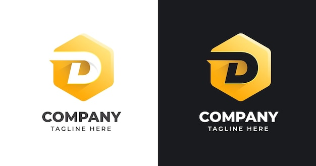 Letter d logo design template with geometric shape style