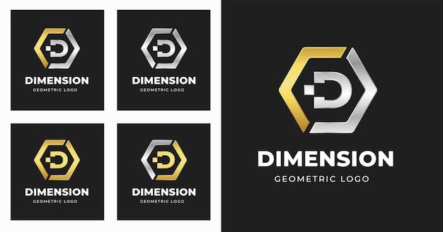 기하학적 모양 스타일 문자 d 로고 디자인 서식 파일