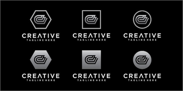 그라디언트 색상으로 문자 d 로고 디자인 서식 파일