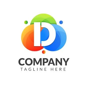 화려한 배경, 창조적 인 산업, 웹, 비즈니스 및 회사를위한 문자 조합 로고 디자인이있는 문자 d 로고.