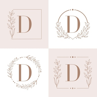 Letter d logo with floral frame background template