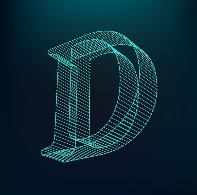 Letter d logotype. neon alphabet