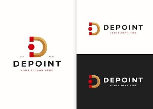 文字dの豪華なロゴデザインテンプレート。ベクトルイラスト