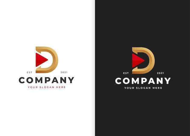三角形のアイコンテンプレートと文字dの豪華なロゴデザイン。ベクトルイラスト